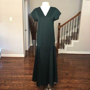 ZARA HUNTER GREEN SCUBA MAXI DRESS sz S